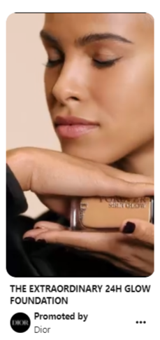 A screen capture of a video pin by Dior.