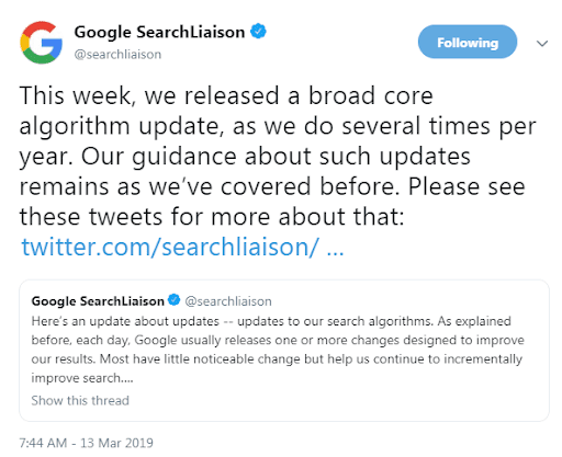 broad core algorithm updates for google