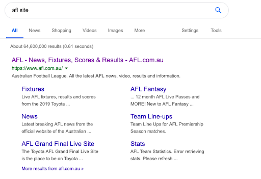 navigational search phrase afl example