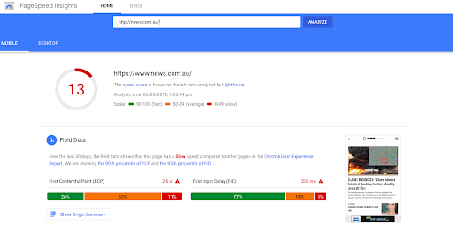 rating of google page speed insights