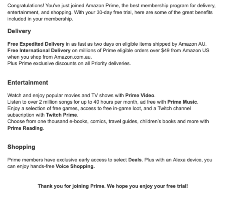 amazon prime information email