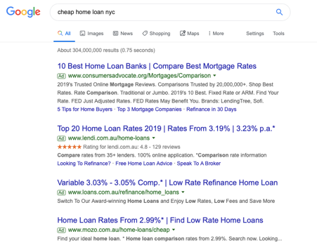 cheap home loans search example