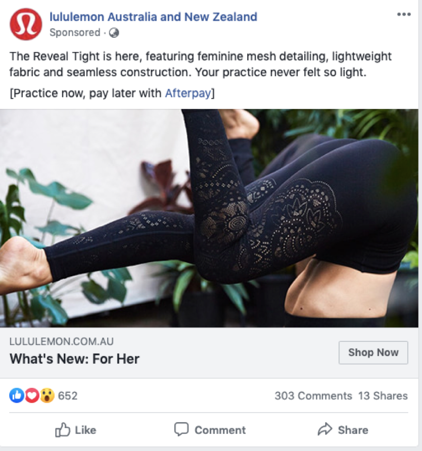 lululemon ad example for facebook