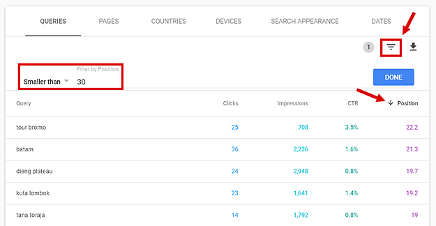 Google Search Console Positions report