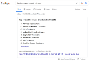 commercial intent serp example