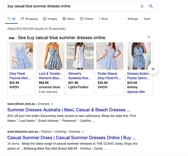 ecommerce keyword research category example