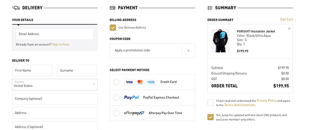simple checkout page example